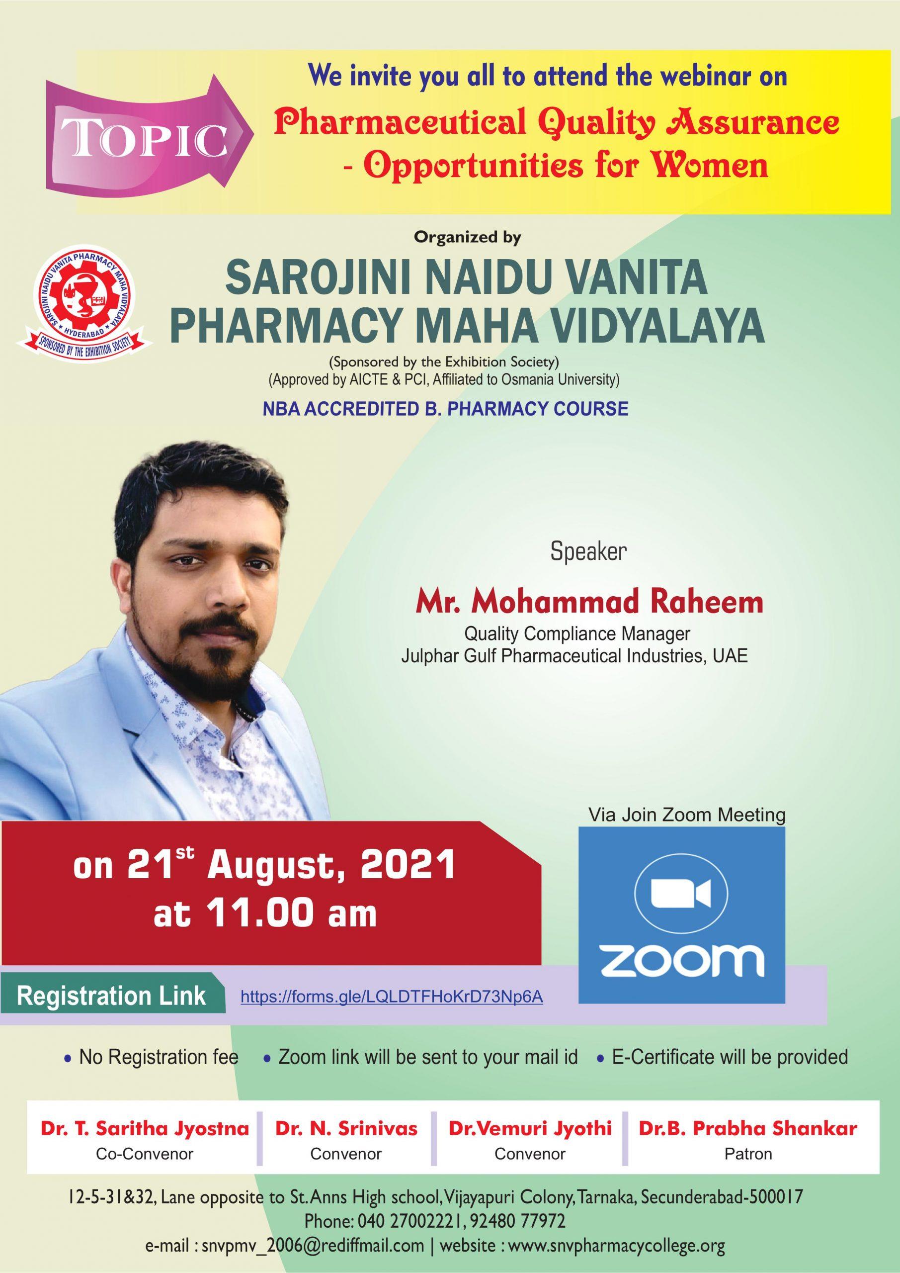 Webinar on 21st August